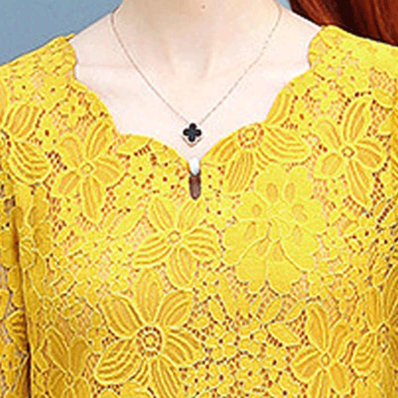 2019 Plus Size 4XL Vrouwen Lace Shirt Herfst Leuke Losse Geel Rood Grijs Korte Koreaanse Casual Lace Top Womens Tops en Blouses H181