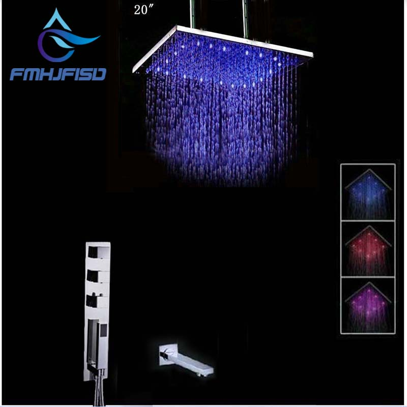 Wholesale and Retail LED Color Changing Ceiling Mounted Shower Head Faucet Set 3 Thermostatic Valve Hand Shower / Tub Spout