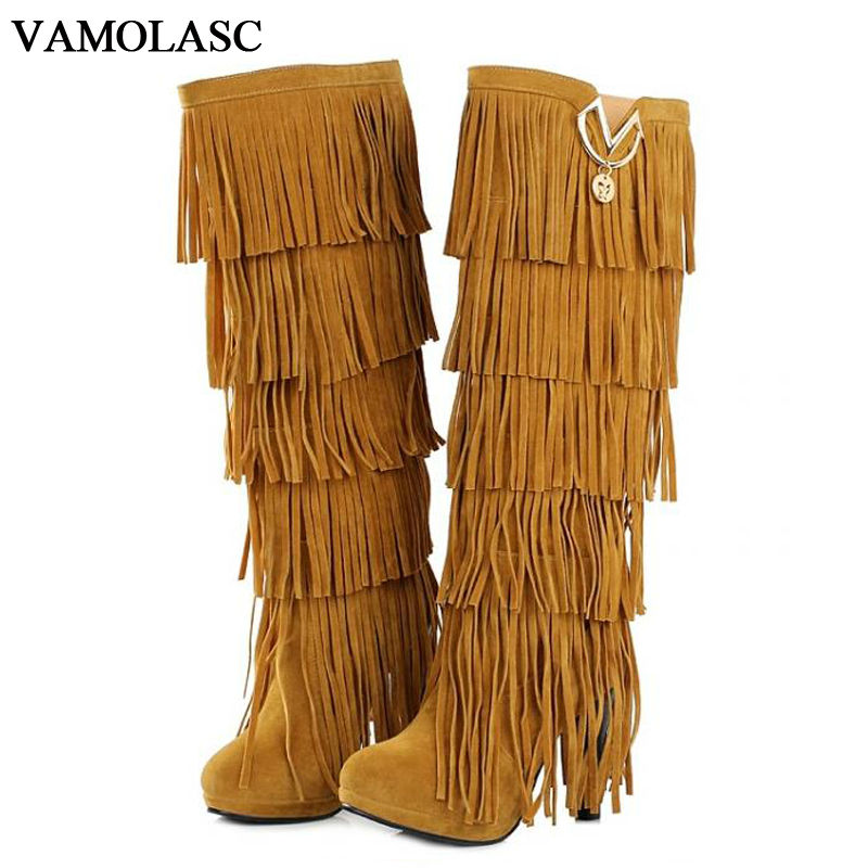 VAMOLASC New Women Autumn Winter Warm Faux Suede Mid Calf Boots Sexy Square High Heel Boots Tassels Women Shoes Plus Size 34-43 tassels flock wedge suede mid calf boots