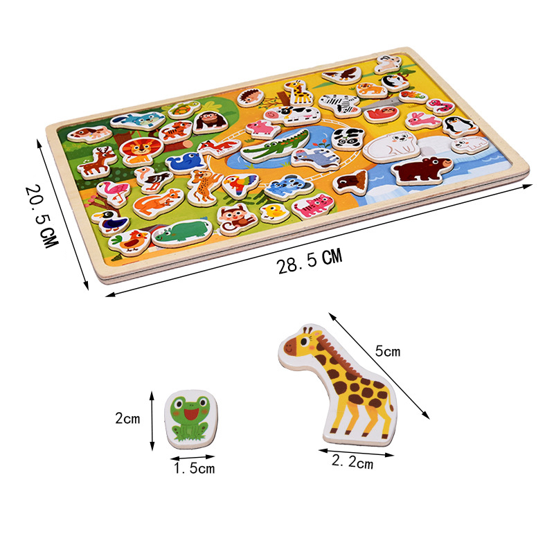Children 39 s Wooden Scene Toy Car Farm Magnetic Three dimensional Puzzle Wooden Magnetic Puzzle Traffic Animal Optional in Puzzles from Toys amp Hobbies