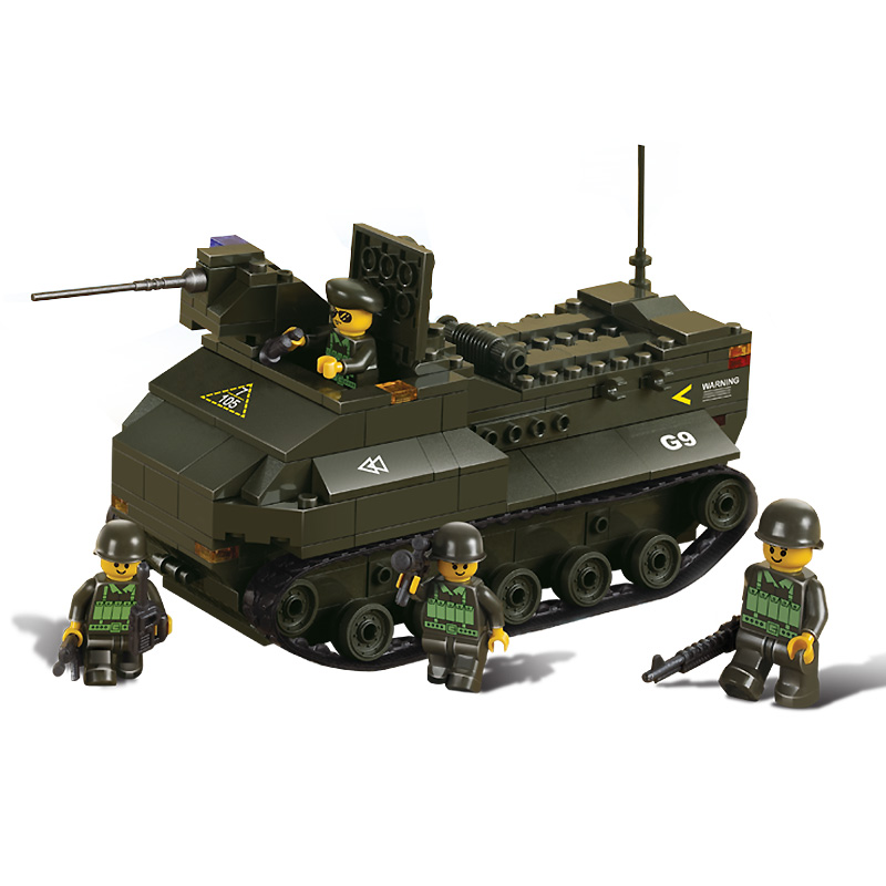 6300 SLUBAN Military WW2 Land Forces Amphibious Tank Model Building Blocks Enlighten Figure Toys For Children Compatible Legoe enlighten building blocks military cruiser model building blocks girls