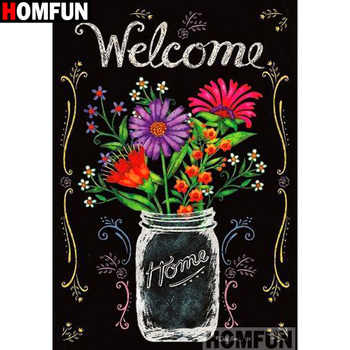 HOMFUN Full SquareRound Drill 5D DIY Diamond Painting Letter flower 3D Embroidery Cross Stitch Mosaic Home Decor A13399