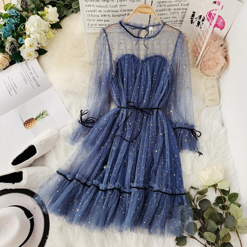 HISUMA spring autumn new women Star sequins gauze flare sleeve lace-up Princess dress female elegant o-neck mesh puff dresses 42