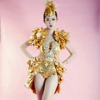 Gold Sequins Bodysuit And Tail DSDJ Nightclub Bar Female Singer Costume Concert Model Theme Party Dance Show Stage Wear