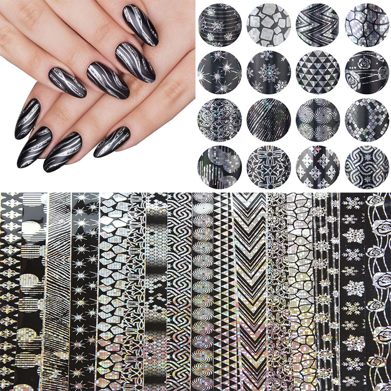 16pcs 20cm*4cm Halloween Style Nail Art Snowflake Nail Transfer Foil Sticker Decal Adhesive Nail Tips Decorations DIY Tools hot sale 20 sheets lot 20 4cm nail art transfer foil floral serial sexy black lace pattern nail sticker foil material diy wy188