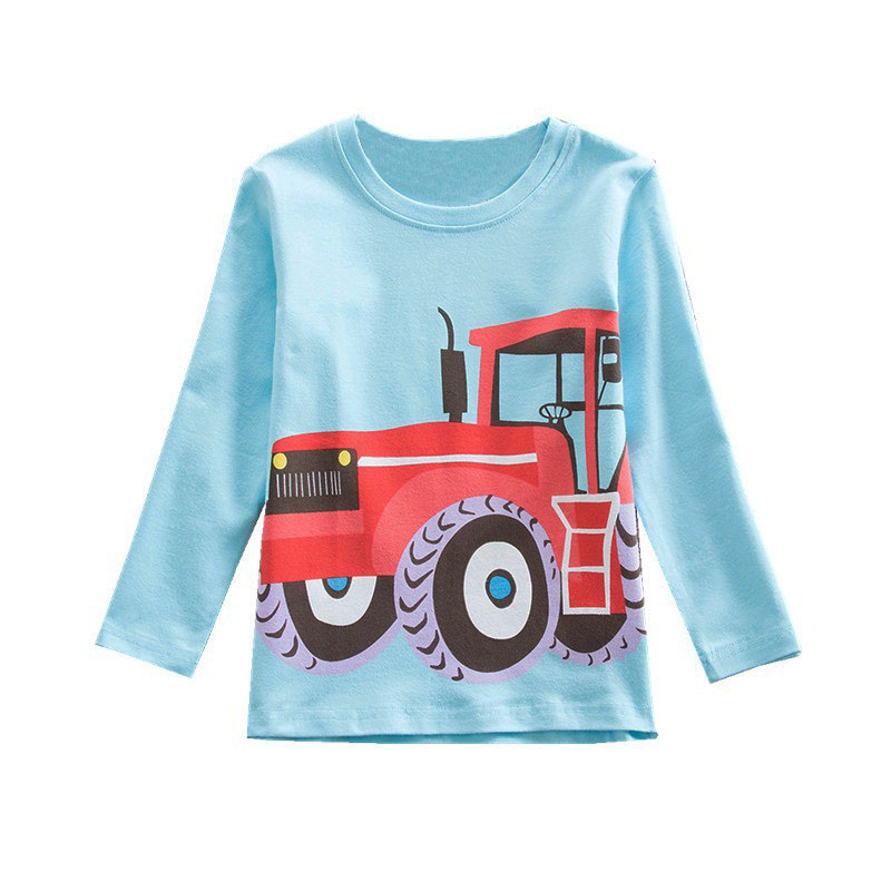 V-TREE Baby Boys T Shirt Cotton Full Long Sleeve Shirt For Boys Car Print Kids Babys Tops Tees Spring Autumn Children Clothing casual print long sleeve t shirt ox pants twinset for boys