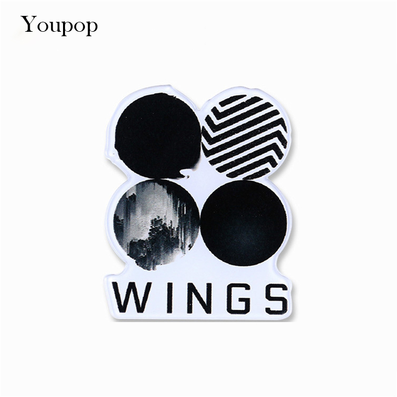Youpop KPOP BTS Bangtan Boys WINGS Album Brooch Pins K-POP Acrylic Badge Accessories For Clothes Hat Backpack Decoration HZ366