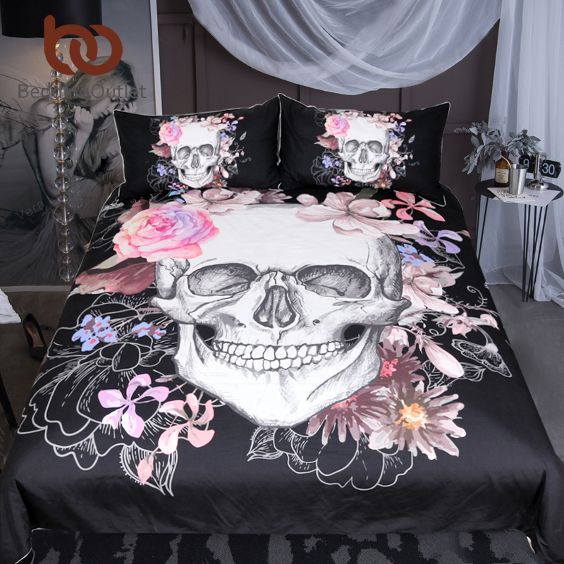 BeddingOutlet Sugar Skull and Floral Duvet Cover Set 3pcs Gothic Bedclothes Flowers Printed Bedding Set Pink And Black Bed CoverBeddingOutlet Sugar Skull and Floral Duvet Cover Set 3pcs Gothic Bedclothes Flowers Printed Bedding Set Pink And Black Bed Cover