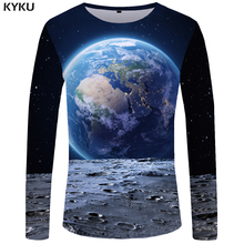 KYKU Moon Long sleeve T shirt Earth Tshirt Space Tees Univer