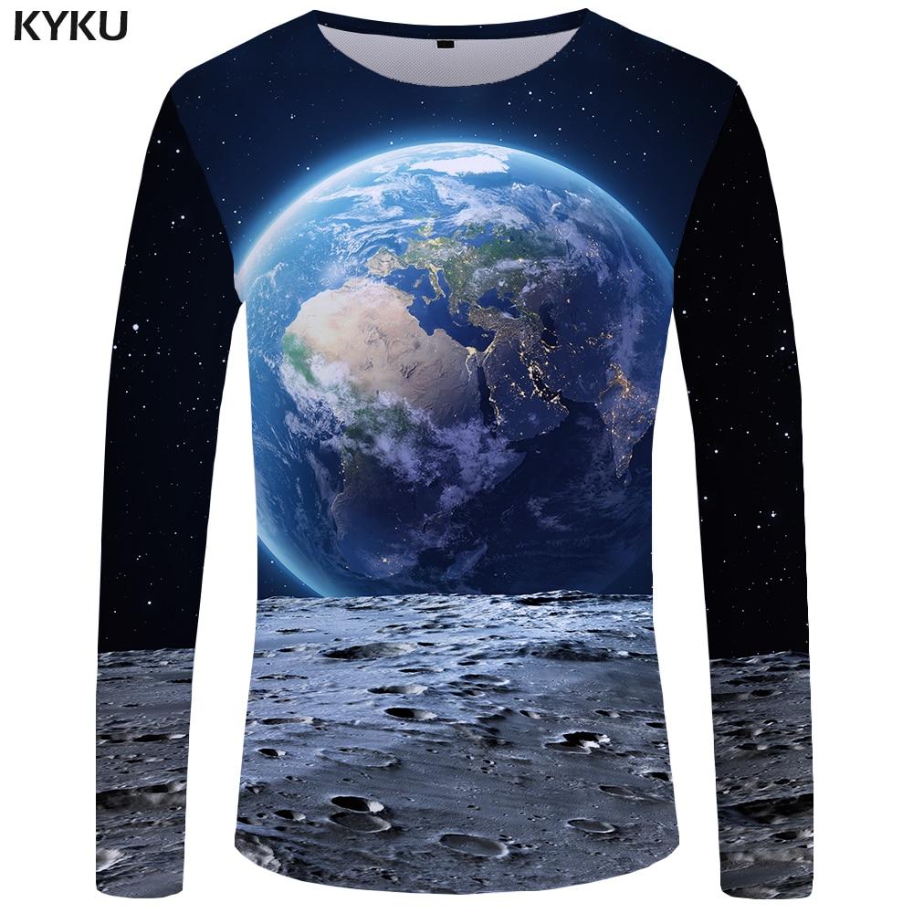 KYKU Moon Long sleeve   T     shirt   Earth Tshirt Space Tees Universe Funny   T     shirts   Tops Clothes Men Print Sexy High Quality 2017