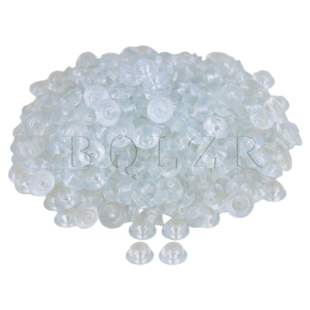 цена на BQLZR 400PCS 15x6x8mm Transparent Silicone Round Soft Rubber Anti-slip Foot Pad for Furniture Feet Chair Cup Table