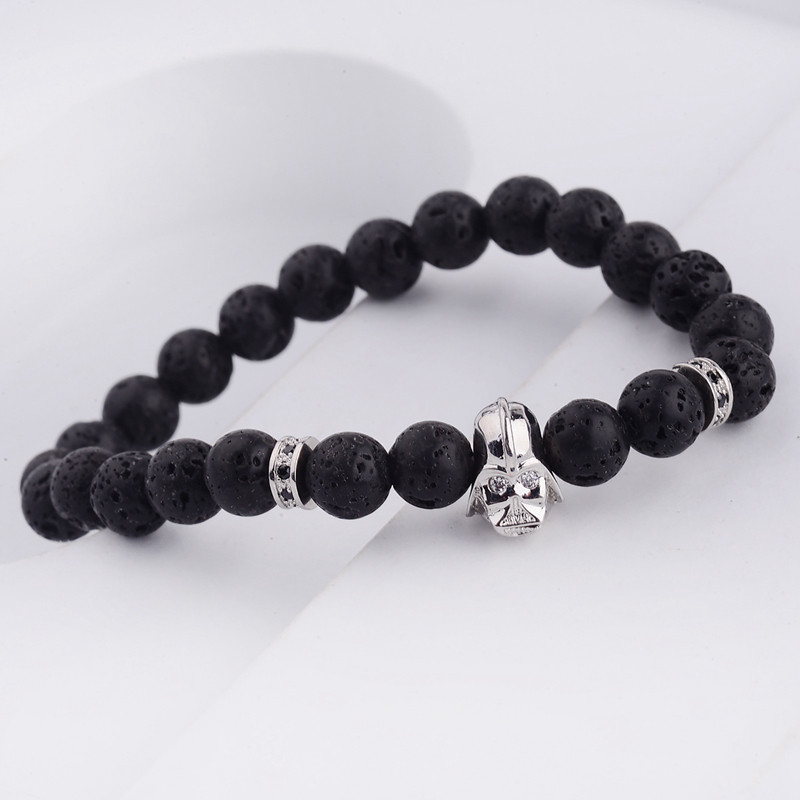 DOUVEI 17 New Charm Mens Star Wars Darth Vader CZ Beaded Bracelets 8mm Bright Black Lava Stone AB1012 12