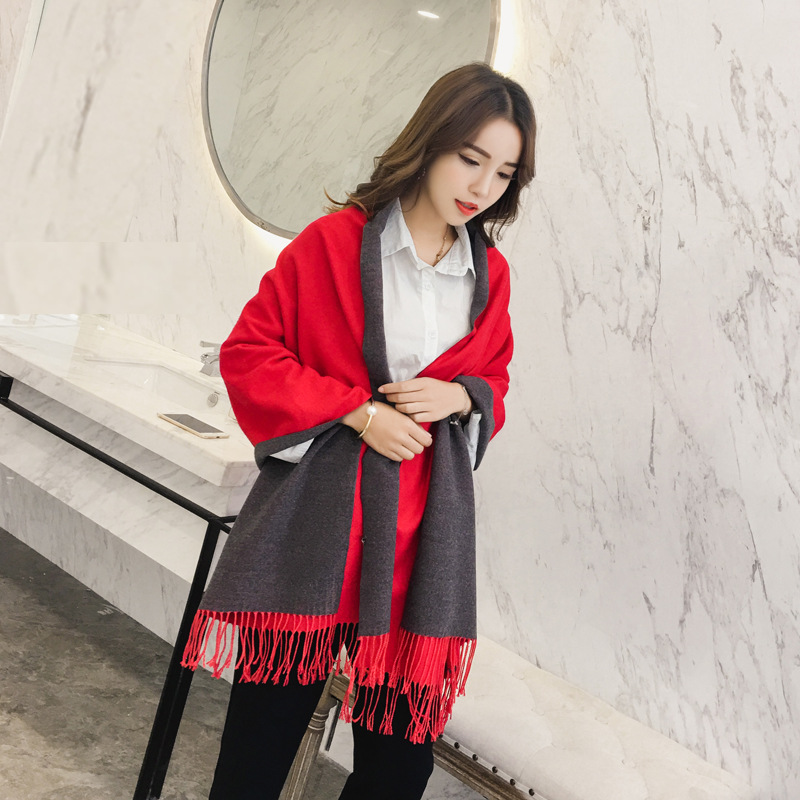 New Winter   Scarf   For Women Luxury Brand Cashmere   Scarf   Poncho Blanket   Scarf     Wrap   Fashion Solid Color Double Sides Pashmina Shawl