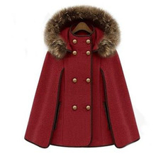 Women Detachable Hooded Faux Fur Collar Wool Coat Double Breasted Shawl Cape Cashmere Jacket Female Winter Windbreaker(China)