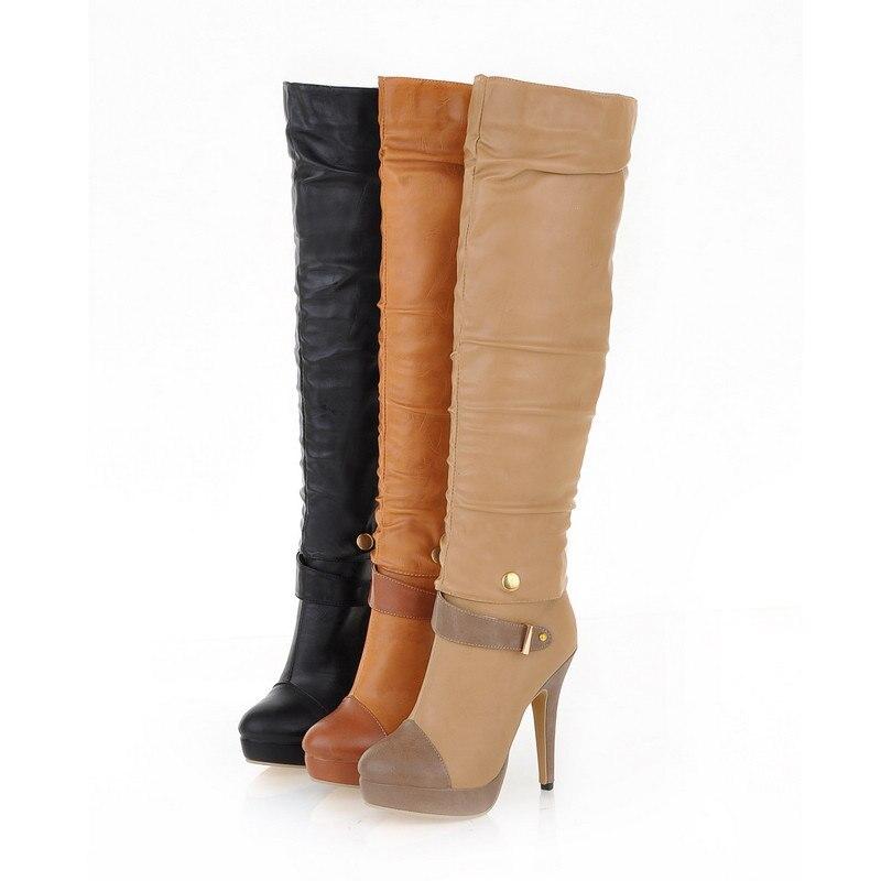 8c8e50a4599 Plus Size 35 43 Hot 2015 Winter Women Boots Fashion Platform Knee High  Boots High Heels Soft Leather Women Shoes-in Knee-High Boots from Shoes on  ...