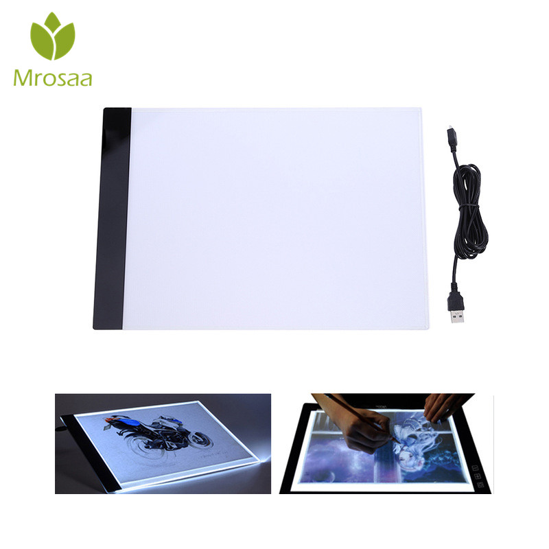 Mrosaa 3,5mm A4 luz tableta ultradelgada LED tablero de dibujo con Cable Usb bordado pintura diamante Cruz puntada herramienta de iluminación