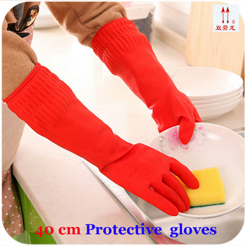 100% Natural latex gloves high quality 40CM Lengthened red Clean work gloves Oil resistant Acid and alkali Protective gloves lengthened 100