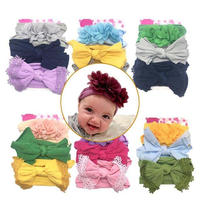 3 Pcs/Set Floral Bows Baby Headband Dot Bowknot Haarband Baby Girl Headbands Cotton Kids Hair Band Girls Hair Accessories 5