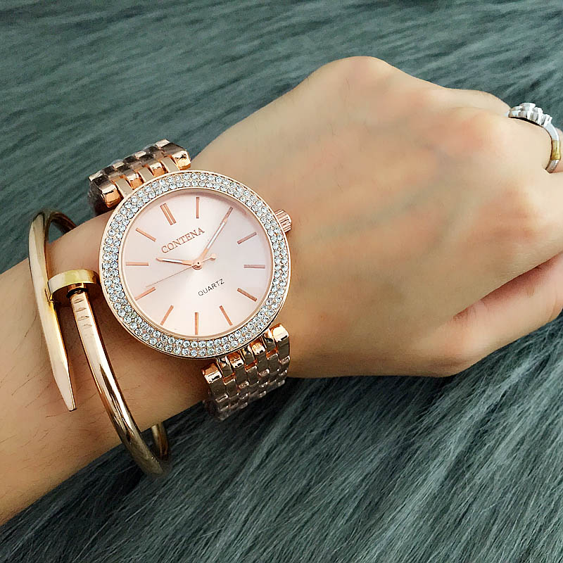 2018 Relogio Feminino Luxury Brand Contena Women Dress Watches Steel Quartz Watch Diamonds Gold Watches For Womans Wristwatches free shipping sp lamp 077 original projector lamp with housing for infocus in3924 in3926 projectors