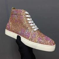 Glitter High Top Women Sneakers Genuine Leather Red Bottom Lovers Casual Shoes Bling Shiny Lace up Woman Vulcanized Shoes