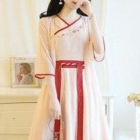 Freeshiping 2019 New Chinese style hanfu dress Leisure Vietnam womens dress chiffon embroidery