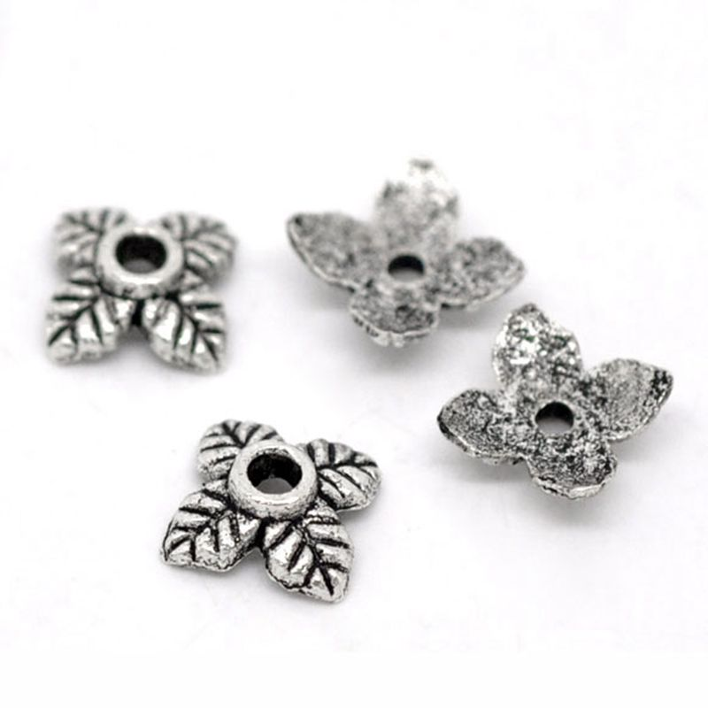 "2//8/""x 2//8/"" 300PCs Gift Silver Tone Flower Bead End Caps Findings 6mmx6mm"