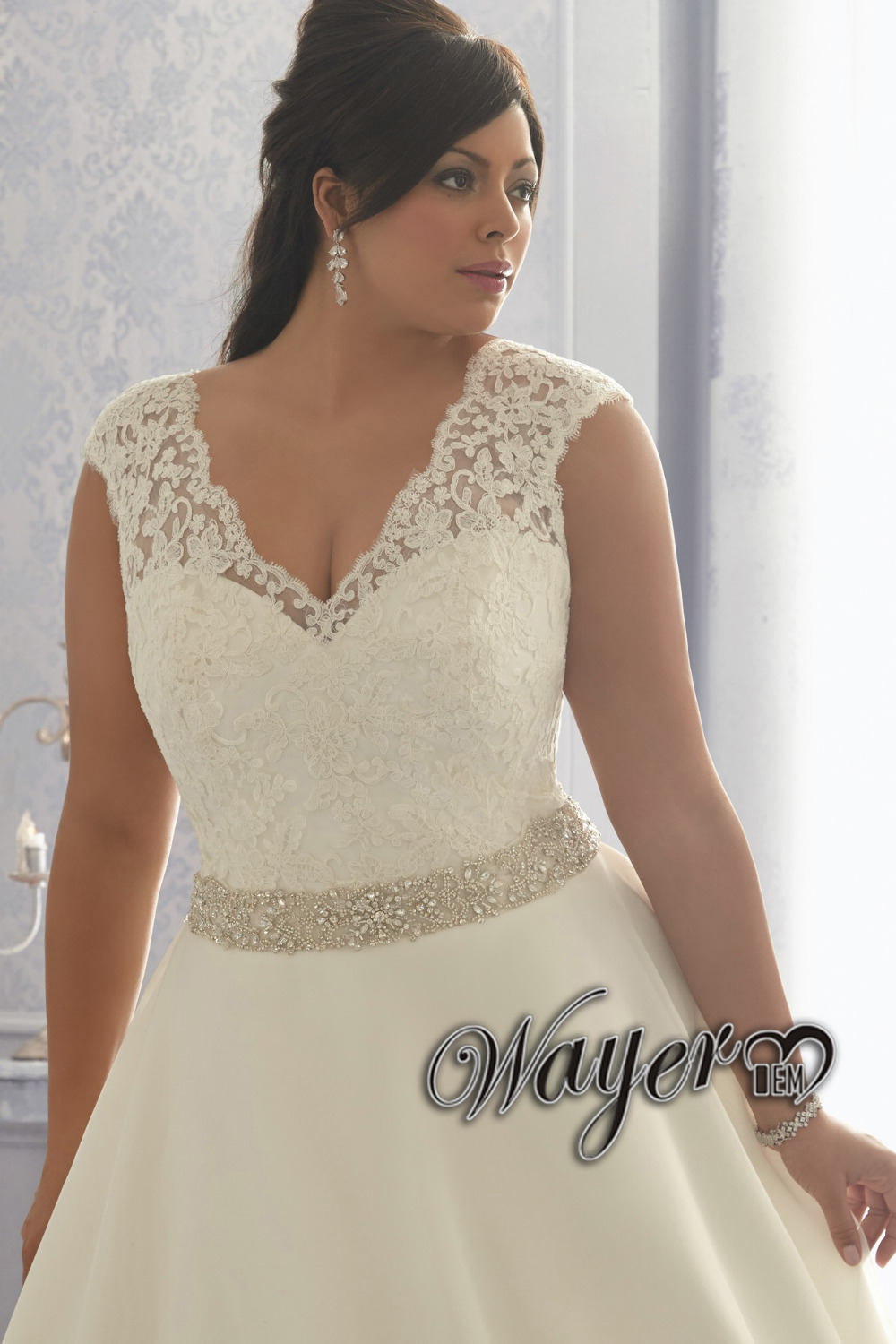 Aliexpress.com : Buy Elegant A line Plus Size Wedding Dress Cap ...