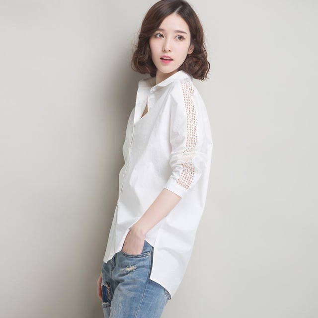 Women Blouses 100%Cotton Long Sleeved White Shirt Female 2016 New Shirt Women