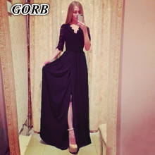 2017 newest autumn Hot sale women Fashion sexy bandage splicing sleeves mark on the west side of open fork super long dress 8066