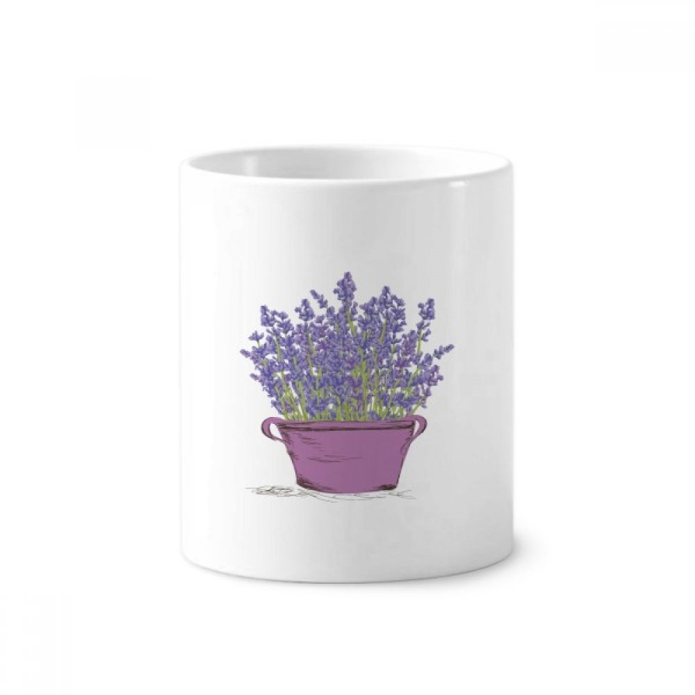 Purple Lavender Pot Flower Plant Toothbrush Pen Holder Mug White Ceramic Cup 12oz image
