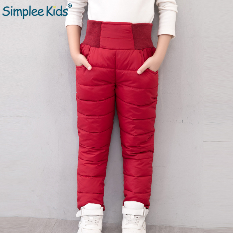Simplee Kids Casual Girl Boy Winter Pants Cotton Padded Thick Warm Trousers Waterproof Ski Pants Elastic High Waisted Baby Pant