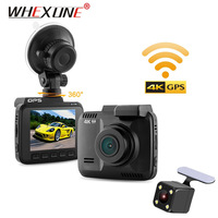 WHEXUNE 4K Car DVR camera 2.4GPS dash cam video Camcorder Novatek 96660 Dual Lens WiFi FHD 1080P Front VGA Rear 2880 x 2160P