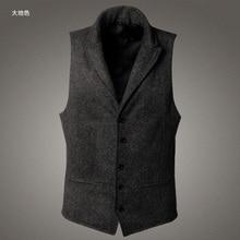 Men's brand Sleeveless Jacket Waistcoat Men Suit Vest Fashion Male British Style Slim Woolen Cotton Single breasted Vintage vest