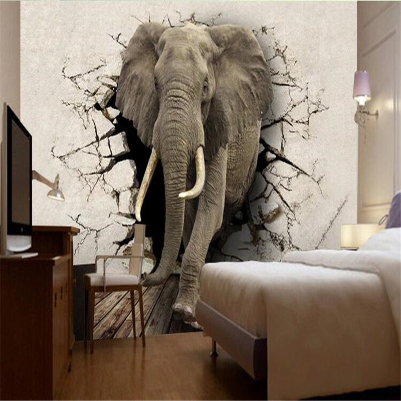 US $9.0 40% OFF|beibehang Custom wallpaper 3D stereo Poqiang abstract  painting living room TV background painting elephant mural decoration-in ...