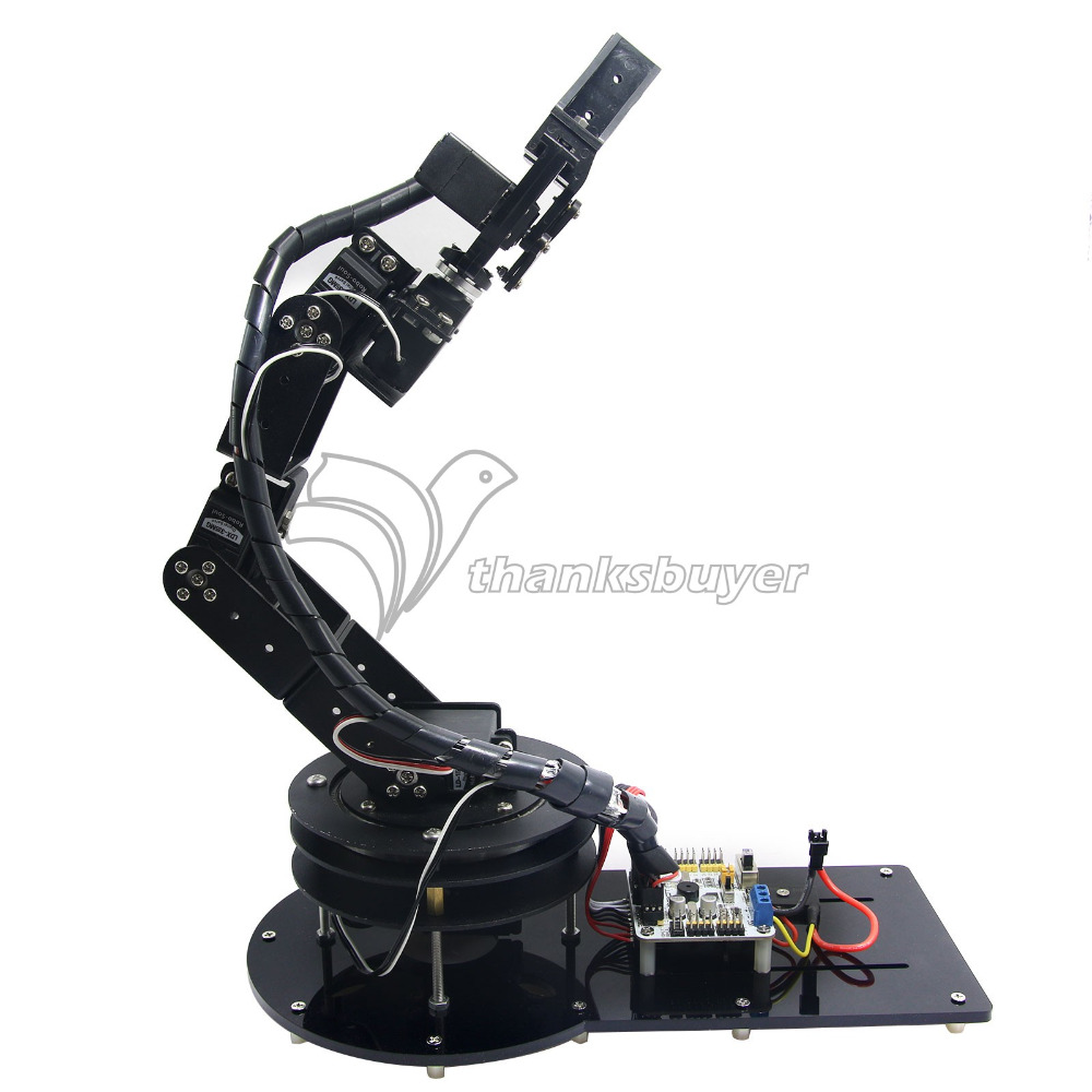 ФОТО 6 DOF Control Kit Aluminium Arm Clamp Claw Machinery Mechanical Robot Structure Full Set Mechanical Arm