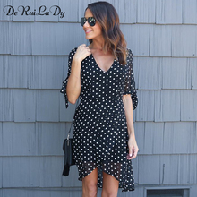 DeRuiLaDy Women Lace Up Dot Print Boho Dress Dresses Elegant Sexy V Neck Short Sleeve Summer Dress 2018 Casual Beach Veditos