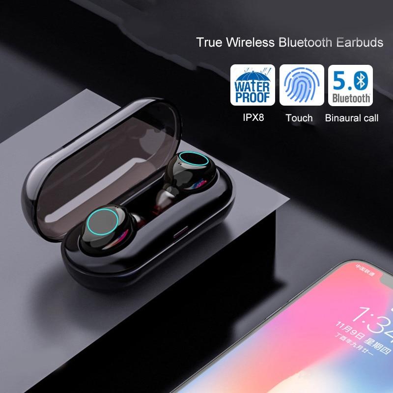 IPX8 étanche TWS bluetooth 5.0 écouteur casque dans l'oreille Sport écouteurs mains libres 3D stéréo sans fil écouteur pour Iphone Huawei