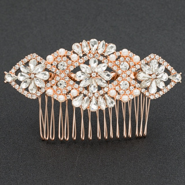 Rose Gold Rhinestone Crystals Classic Wedding Bridal Hair Side Comb