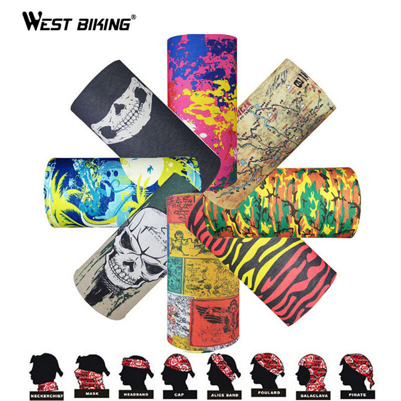 WEST BIKING Sports Skull Wicking Seamless Cycling Bike Veil Bicycle Riding Head Scarf Face Masks Camping Bandana Hiking Scarve все цены