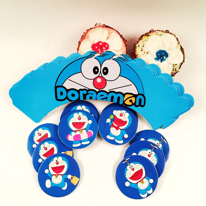 24pcs/lot Doraemon Cartoon Machine Cats Cupcake Wrapper Toppers Pick Decoration child Baby Shower Birthday Cake Party Supplies