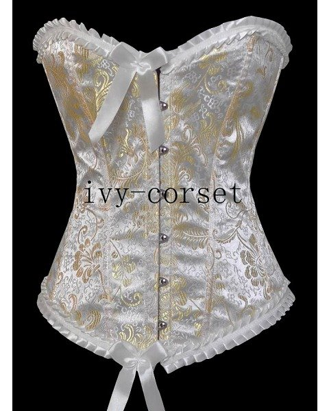 Classic Vintage Strapless Lace Up Corset Bustier String white with gold corselet dresses burlesque outfits costumes corsage