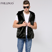 00311168da4 FHILLINUO 2018 New Winter Men Faux Fur Vest Hoodie Hooded Thick Fur Warm  Waistcoats Sleeveless Coat