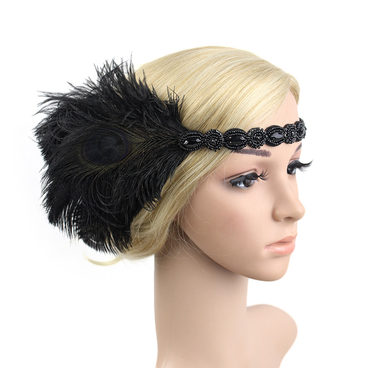 Vintage Adult Hair Accessory Roaring 20s Great Gatsby Party Headpiece 1920s Flapper Girl Peacock Feather Headband headpiece
