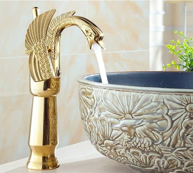 Luxury Gold plated Swan model wash basin faucet / Fashion Bathroom Hot and Cold Water Basin Tap  /Mixer tap pastoralism and agriculture pennar basin india