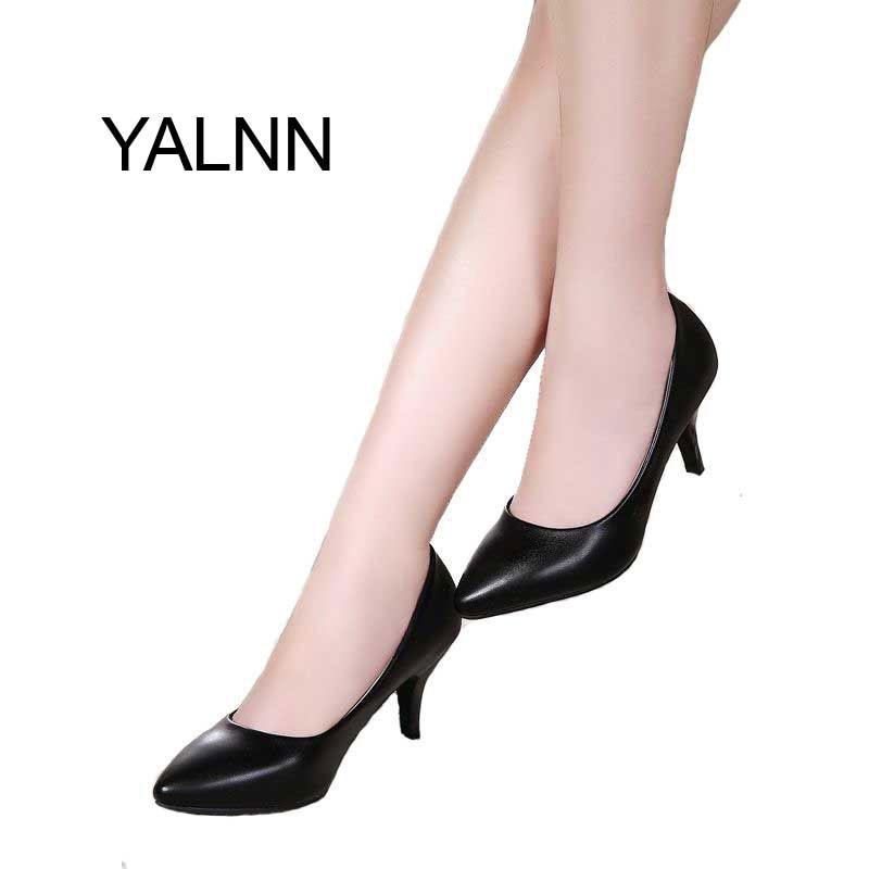YALNN Women High Heels Office Lady Shoes Women's Pumps Shoes for Office Lady Women 7cm Thin Heel Pointed Toe Pumps 2018 office women high heel pumps solid