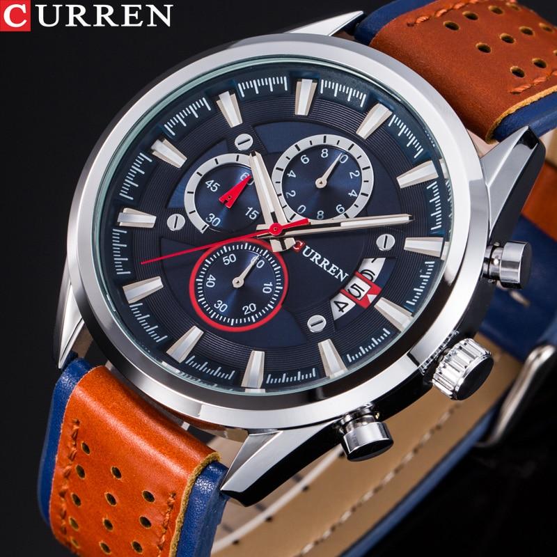 CURREN Men's Watches Top Brand Luxury Watch Men Military Leather Sports Watches Waterproof Quartz Wristwatches Male Clock