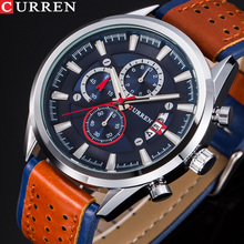 CURREN Mens Watches Top Brand Luxury Watch Men Military Leather Sports Watches Waterproof Quartz Wristwatches Male Clock