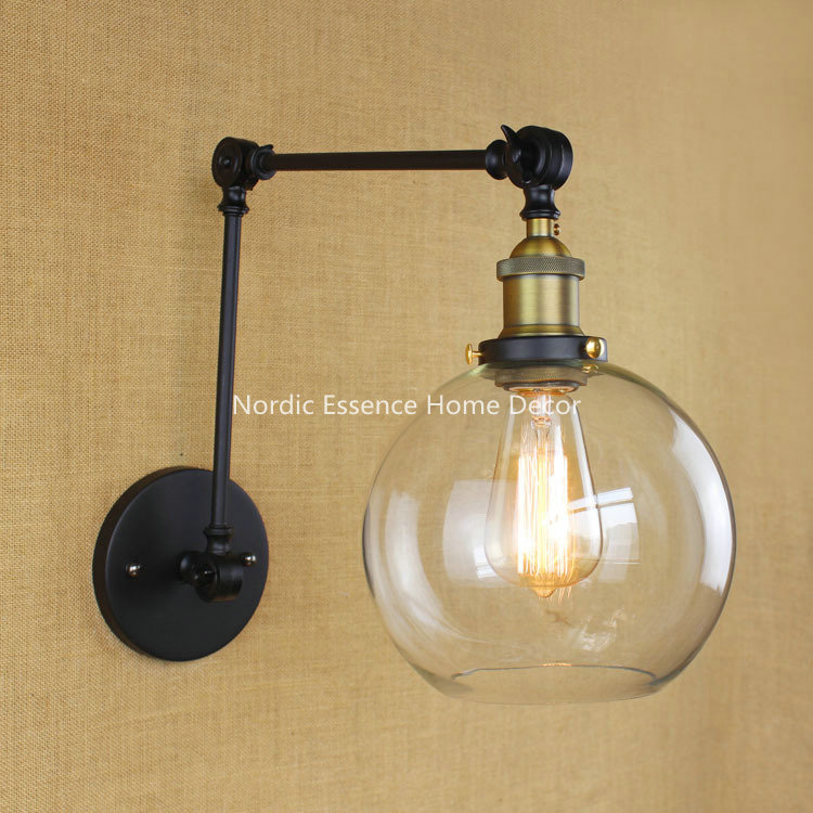 Iron LOFT glass wall lamp long arm creative industry retro nostalgia scalable type bedrooms restaurant hallway foldable lighting american creative fashion led the study bedroom mirror before the long arm of the head of a bed wall lamp wrought iron long arm