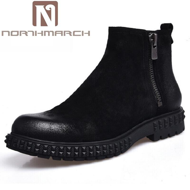 NORTHMARCH Autunm Winter Mens Genuine Leather Boots Fashion Zipper Men Boots Handmade Black Men Shoes Botas De Couro Masculino мужской ремень cinto couro marca
