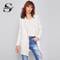 Sheinside White Shawl Collar Longline Tweed Blazer Office Ladies Long Sleeve Frayed Trim Button Up Women Elegant Outerwear